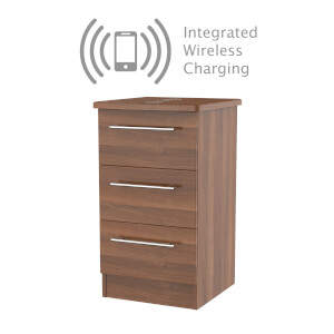 Siena Noche 3 Drawer Bedside Cabinet - Rechargeable
