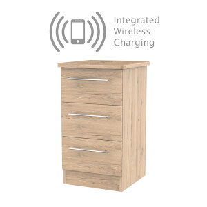 Siena Bordeaux Oak 3 Drawer Bedside Cabinet - Rechargeable