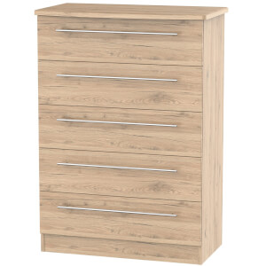 Siena Bordeaux Oak 5 Drawer Chest