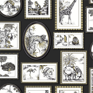 Holden Decor Safari Frames Animal Smooth Metallic Black and Gold Wallpaper
