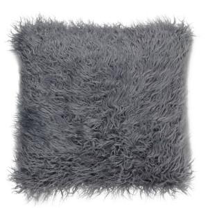 Faux Mongolian Fur Cushion - Grey