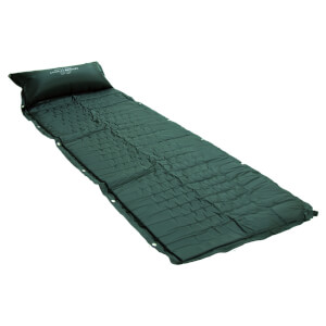 Charles Bentley Self Inflating Single Rollup Camping Mat with Pillow Green