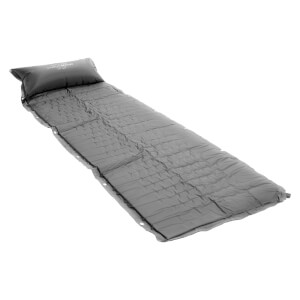 Charles Bentley Self Inflating Single Rollup Camping Mat with Pillow - Grey