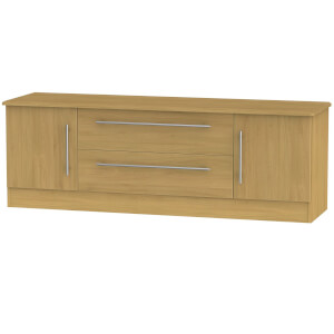 Siena Wide 2 Door 2 Drawer TV Unit - Modern Oak