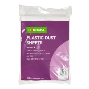 Homebase Plastic Dust Sheet 4pk
