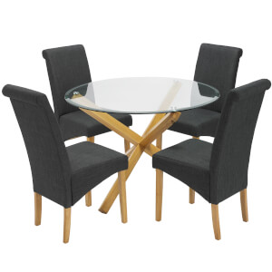 Oporto 4 Seater Dining Set - Amelia Dining Chairs - Grey