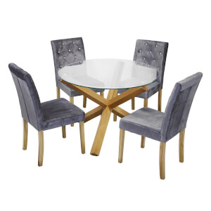 Oporto 4 Seater Dining Set - Paris Dining Chairs - Silver