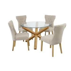 Oporto 4 Seater Dining Set - Naples Dining Chairs - Beige