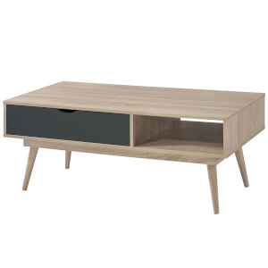 Scandi Oak 1 Drawer Coffee Table - Grey