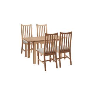 Kea 1.2m Extending 4 Seater Dining Set - Oak
