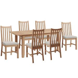 Kea 1.6m Extending 6 Seater Dining Set - Oak
