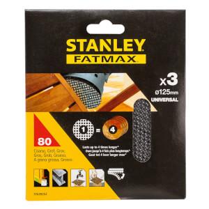 STANLEY FATMAX - 3x 80g Quick Fit Random Orbital Sanding Mesh Discs 125mm