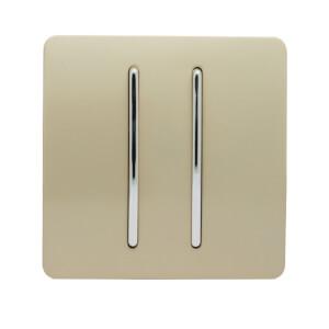 Trendi Switch 2 Gang 2 Way 10 Amp Rocker Light Switch in Screwless Gold