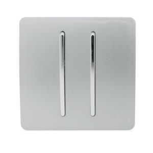Trendi Switch 2 Gang 2 Way 10 Amp Rocker Light Switch in Screwless Silver