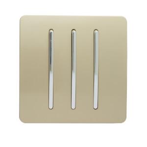 Trendi Switch 3 Gang 2 Way 10 Amp Rocker Light Switch in Screwless Gold