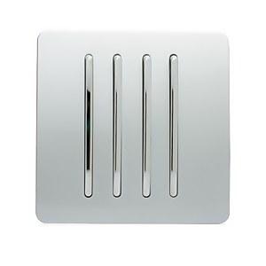 Trendi Switch 4 Gang 2 Way 10 Amp Rocker Light Switch in Screwless Silver