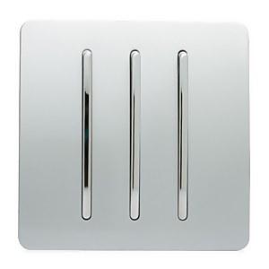 Trendi Switch 3 Gang 2 Way 10 Amp Rocker Light Switch in Screwless Silver