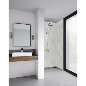 Wetwall Cararra Marble - 900mm - Square Edge - Laminate