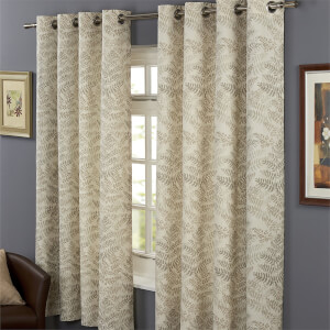 Hedgerow Lined 100% Cotton Eyelet  Curtains 90 x 90 - Natural