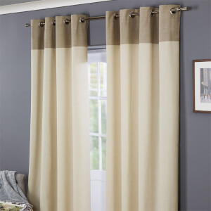 Oslo 100% Cotton Eyelet Curtains 46 x 54 - Natural