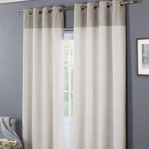 Oslo 100% Cotton Eyelet Curtains 90 x 90 - Grey