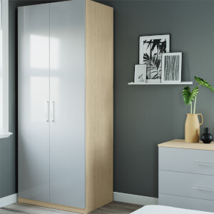 Modular Bedroom Slab Double Wardrobe - Grey