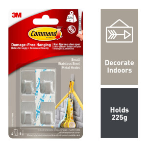 Command Small Metallic Hooks - Stainless Steel Colour - 4 Hooks - 5 Strips