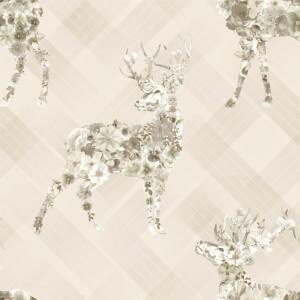 Holden Decor Floral Elk Stag Smooth Metallic Beige Wallpaper