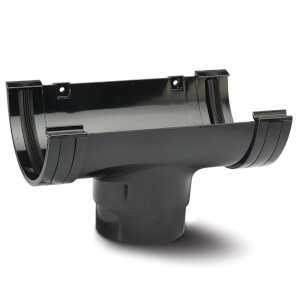 Polypipe Half Round 75mm Gutter Running Outlet Black