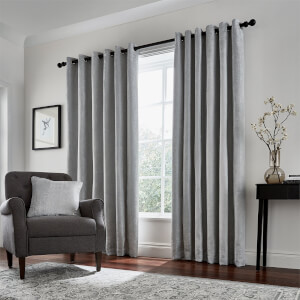 Peacock Blue Hotel Collection Roma Lined Curtains 90 x 72 - Silver