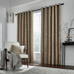 Peacock Blue Hotel Collection Roma Lined Curtains 90 x 72 - Truffle