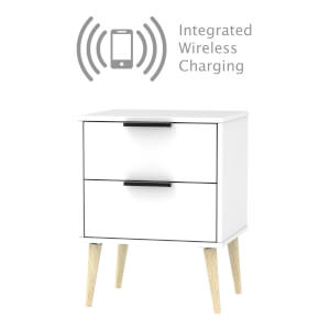 Tokyo 2 Drawer Bedside Table with Wireless Charging - White