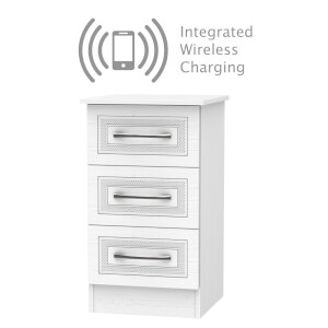 Milton 3 Drawer Bedside Table with Wireless Charging - White