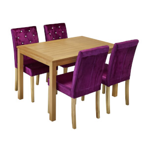 Oakridge 4 Seater Dining Set - Paris Dining Chairs - Purple