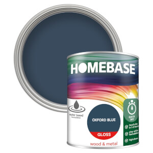 Homebase Interior Quick Dry Gloss Paint - Oxford Blue 750ml