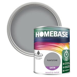 Homebase Interior Quick Dry Satin Paint - Flintstone 750ml