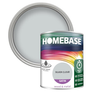 Homebase Interior Quick Dry Satin Paint - Silver Cloud 750ml