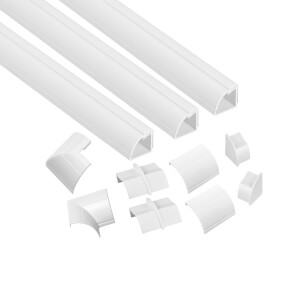 D-Line Quadrant Trunking Multipack 3 x 22mm x 22mm x 1-metre Lengths & Accessories - White