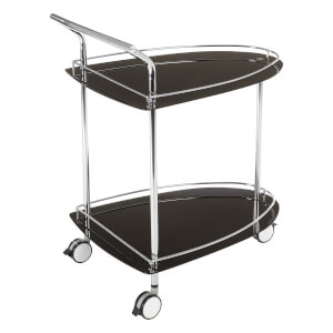 Black Tempered Glass Serving Trolley