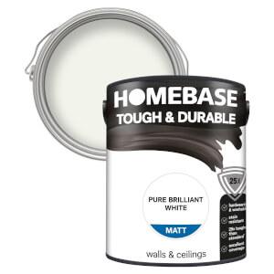 Homebase Tough & Durable Matt Paint - Pure Brilliant White 5L