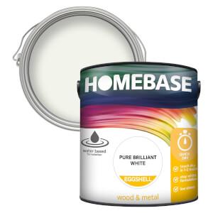 Homebase Interior Quick Dry Eggshell Paint - Brilliant White 2.5L