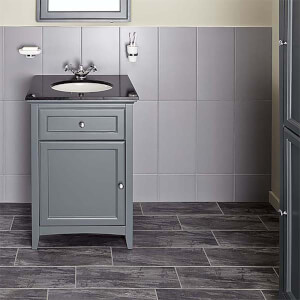 Bathstore Savoy 600mm Granite Top Floorstanding Vanity Unit - Charcoal Grey