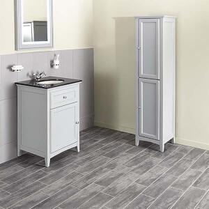 Bathstore Savoy 600mm Granite Top Floorstanding Vanity Unit - Gun Metal Grey