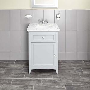 Bathstore Savoy 600mm Marble Top Floor standing Vanity Unit - Gun Metal Grey