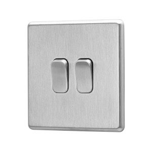 Arlec Fusion 10A 2Gang 2Way Stainless Steel Double light switch