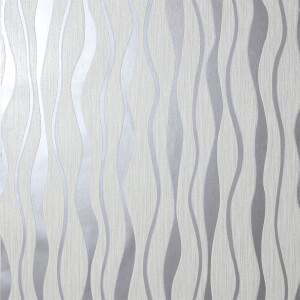 Arthouse Metallic Wave Textured Metallic Glitter White and Silver Wallpaper