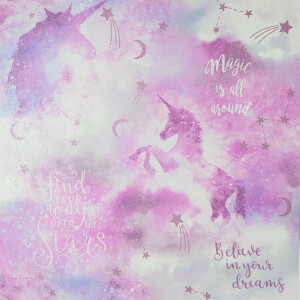 Arthouse Galaxy Unicorn Kids Textured Glitter Blush Pink Wallpaper