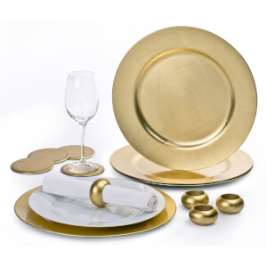 12 Piece Gold Charger Plate Set
