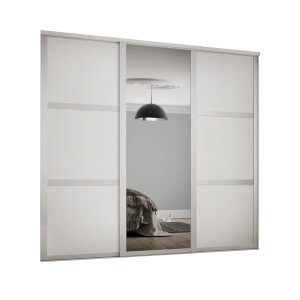 Shaker 3 Door Sliding Wardrobe Kit White Panel / Mirror with White Frame (W)2592 x (H)2260mm