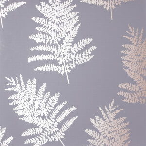 Arthouse Opera Fern Tree Smooth Metallic Charcoal and Rose Gold Wallpaper